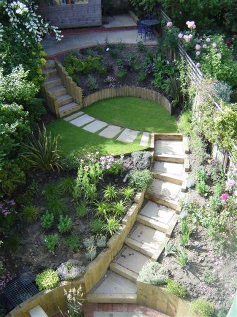 sloping garden ideas  pinterest sloped garden