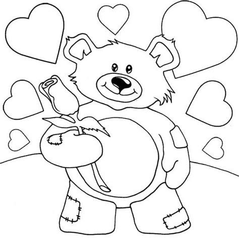 Roses and Teddy Bear Coloring Pages