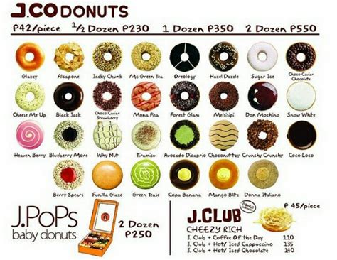 He had a lot of experience in food selling areas where coffee and donuts were 2 essential foods for consumers. J.CO DONUTS MENU   Donut flavors, Donuts, Donut dessert