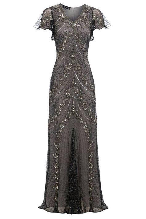 lima embellished grey maxi dress great gatsby inspired
