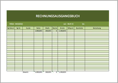 rechnungsausgangsbuch excelvorlage excel vorlagen fuer