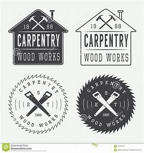 Set Of Vintage Carpentry Labels, Emblems And Logo Stock