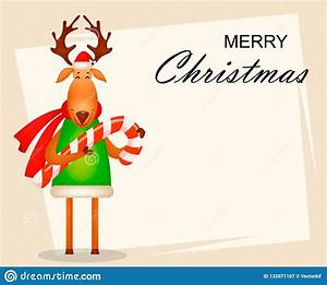 Funny, Deer, Wearing, Santa, Claus, Hat, And, Red, Scarf, Stock, Vector