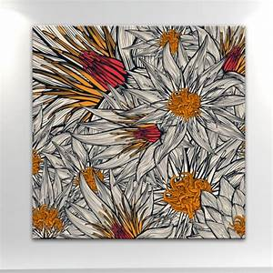 Tableau Fleurs Moderne : tableau moderne fleurs exotiques gris et orange ~ Teatrodelosmanantiales.com Idées de Décoration