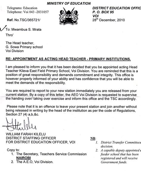 teacher appointment letters    margaret
