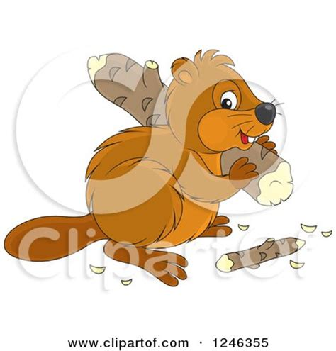 clipart illustration   beavers building  dam