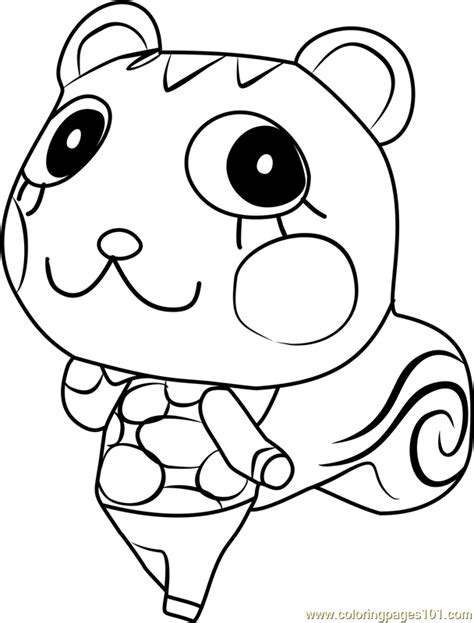mint animal crossing coloring page  animal crossing