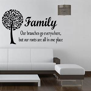 Family tree like branches vinyl art sticker bedroom lounge for Family wall art