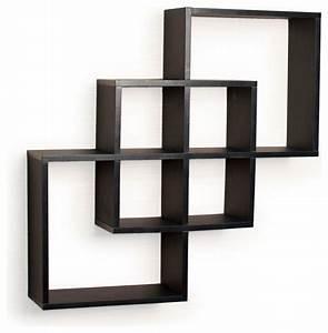 Intersecting Squares Decorative Wall Shelf, Black