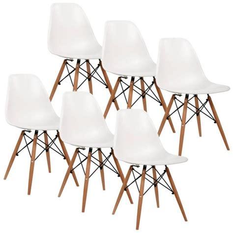 chaise blanche pied en bois lot de 6 chaises design blanche pieds en bois achat