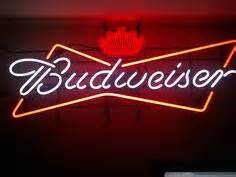 This huge Budweiser the great American lager lighted neon