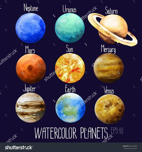 stock-vector-watercolor-planets-sun-mercury-venus-earth ...