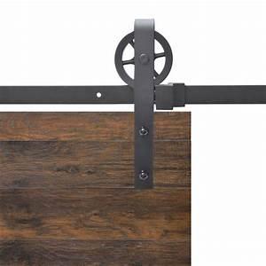 calhome vintage strap industrial wheel steel sliding barn With barnwood door handles