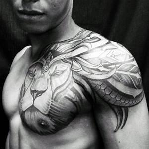 70 Lion Chest Tattoo Designs For Men - Fierce Animal Ink Ideas