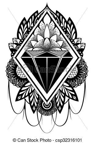 Diamond tattoo. Design decorative diamond symbol.