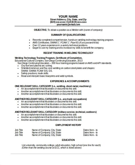 Welder Resume Sle by Welder Resume Template 6 Free Word Pdf Documents