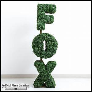 339h x 6inw custom logo or letter boxwood topiary shape With artificial topiary letters