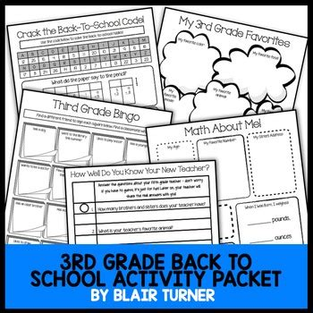 back to school activity packet 3rd grade by blair turner