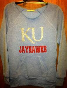 royal blue ku jayhawks sweatshirt alternative apparel With glitter letters for clothing