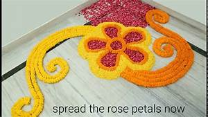 Home Decor Ideas : How to make rangoli with flowers? - YouTube