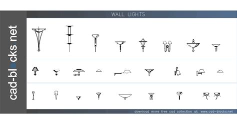 ilumination cad blocks wall lights in elevation view