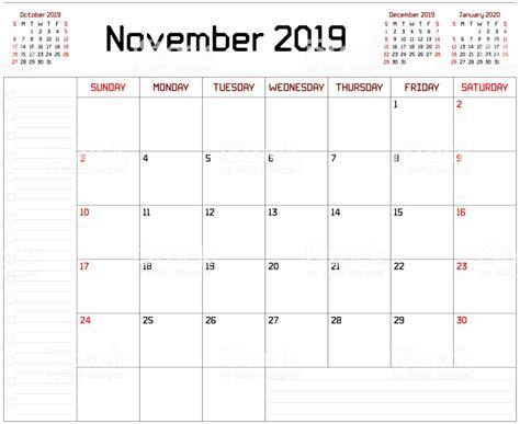 calendrier planificateur mensuel pour novembre avec polices lignes
