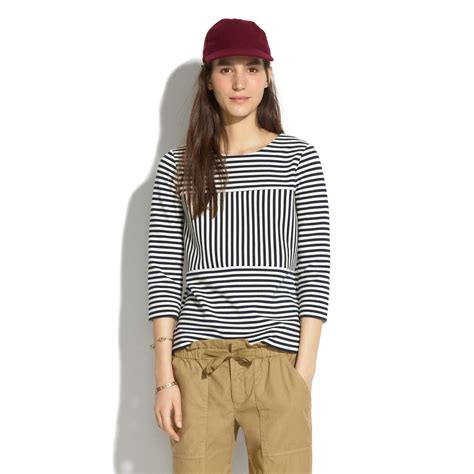 madewell gallerist ponte top  stripe  blue ink lyst
