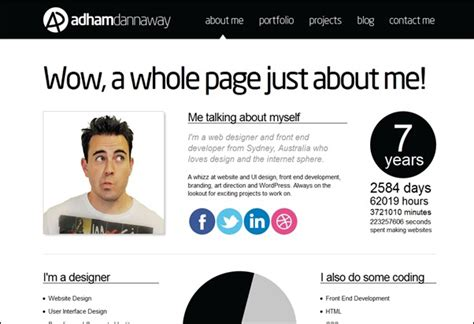 web designers me 10 creative about me pages