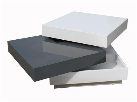 bureau design blanc table basse carrée plateaux pivotants bois laqué l60cm
