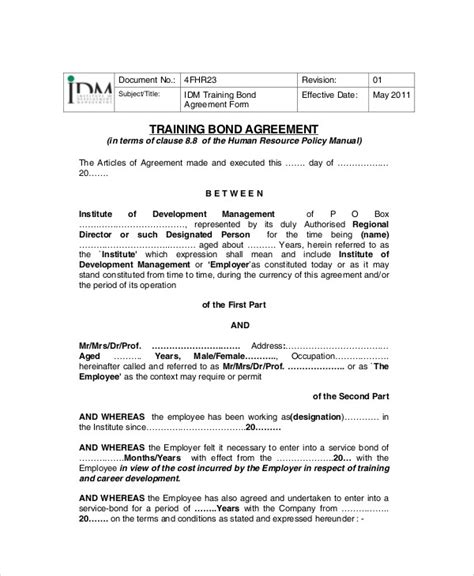training agreement contract sample  examples  word