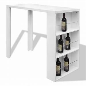 Table De Bar Blanche : la boutique en ligne table de bar blanche verniss e avec 3 tag res de rangement ~ Voncanada.com Idées de Décoration