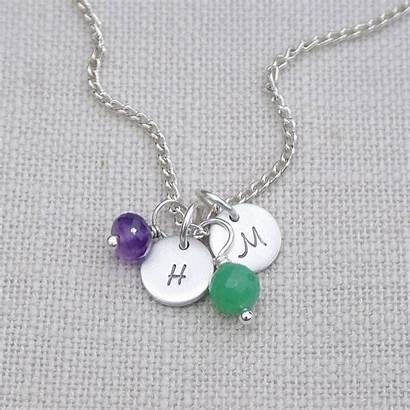Necklace Birthstones Initials Birthstone Personalised Initial Personalized