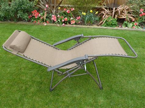 brown multi position garden lounger relaxer chair with