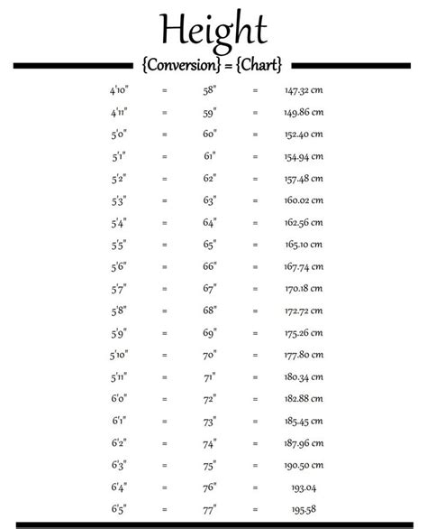 height conversion chart feet inches science pinterest medical assistant medical