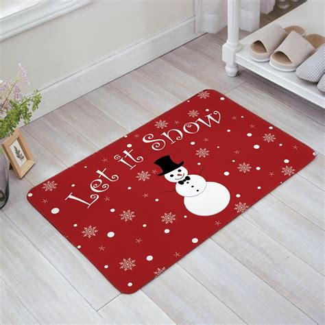 snow doormat let it snow snowman print doormat welcome