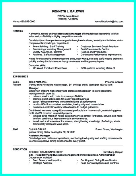 attractive  simple catering manager resume tricks