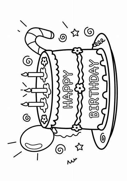 Birthday Cake Coloring Pages Happy Printable Mom