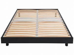 Sommier À Lattes Conforama : sommier en kit 140x190 cm newsomkit coloris noir vente ~ Dode.kayakingforconservation.com Idées de Décoration