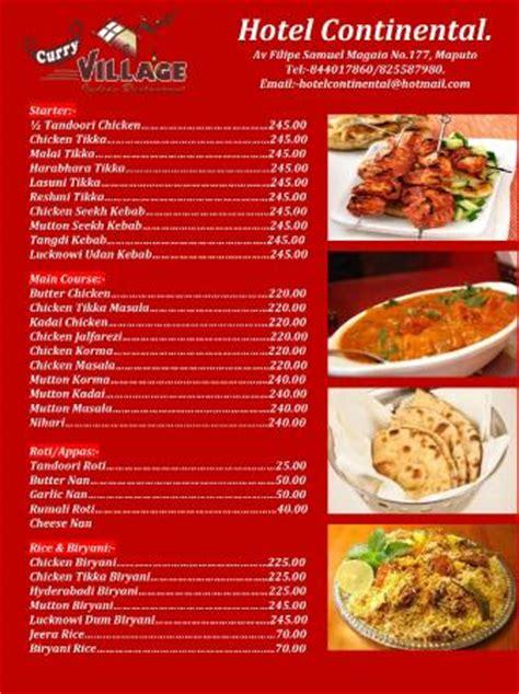 indian cuisine menu indian food menu picture of hotel continental maputo tripadvisor
