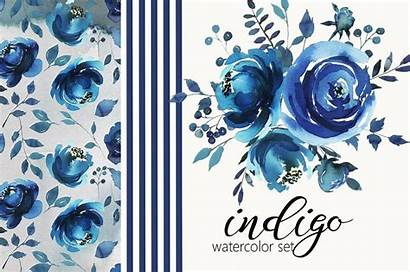 Watercolor Flowers Floral Indigo Graphic Illustrations Graphics