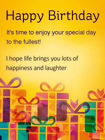 time  enjoy special day happy birthday wishes card