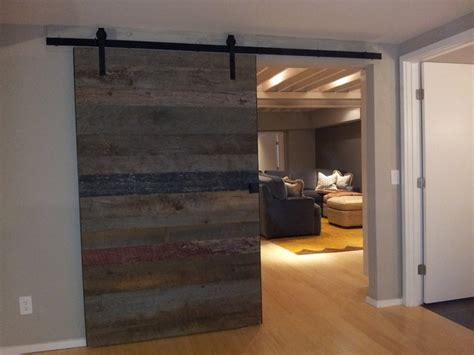 Barn Wood Accent Wall And Sliding Door