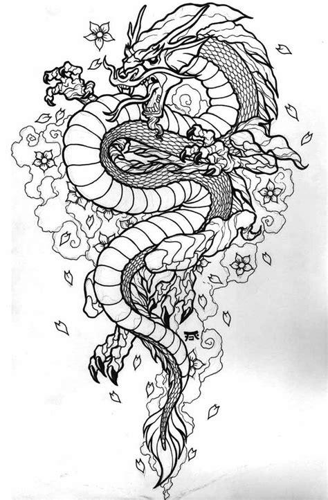 furious black  white oriantal dragon  cherry blossom