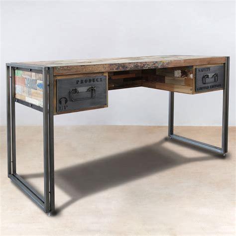 bureau gris metal dans meuble bureau 120cm en bois recyclés de bateaux 2 tiroirs métal