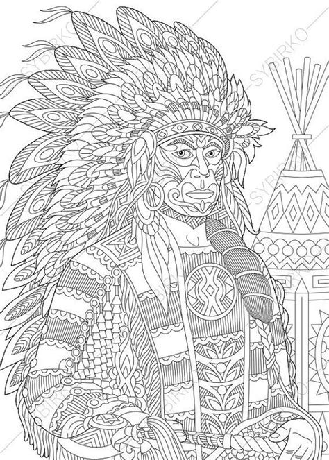 coloring pages  adults native american indian chief