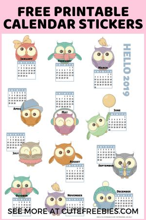 calendar printable stickers cute freebies