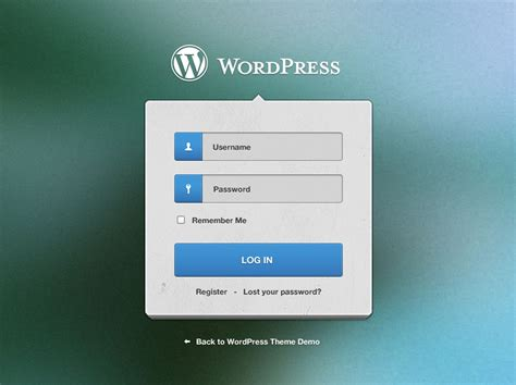 Wordpress Login Screen Free Psd File Download
