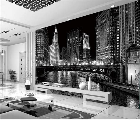 home decoration window mural wallpaper black  white
