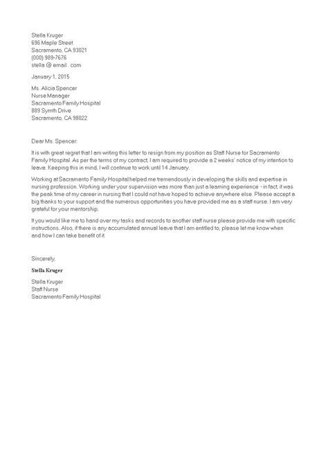 Staff Nurse Resignation Letter   Templates at allbusinesstemplates.com