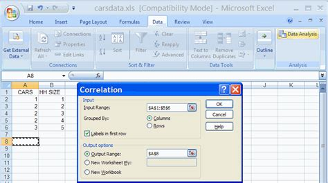 how to find sle variance in excel 2007